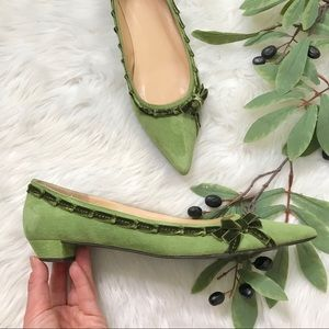 J. Crew Green Suede Pointed Bow Toe Flats Low Heel